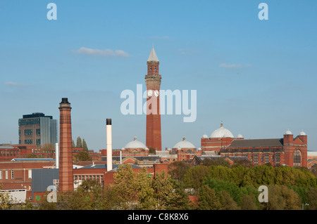 Birmingham University skyline with Joseph Chamberlain Memorial Clock Tower in Chancellor's court, Birmingham. England. - Stock Photo