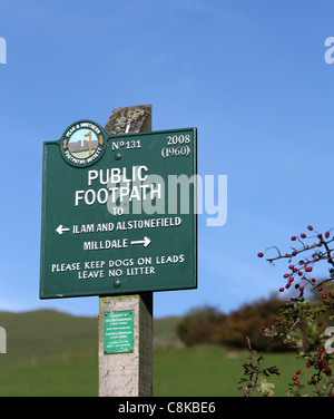 Public Footpath Sign in the Peak District at Dovedale - Stock Photo