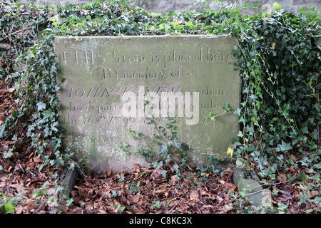 The Grave of John Kane in Buxton who died after eating hemlock instead of horseradish - Stock Photo