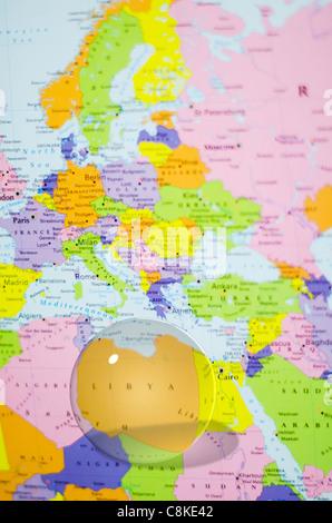 Libya on world map Stock Photo: 169356604 - Alamy