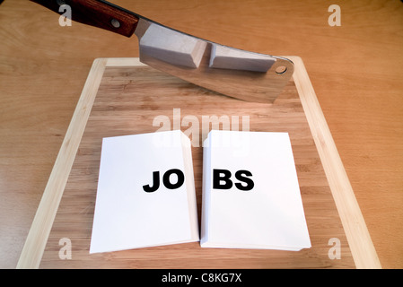 Cutting jobs with a cleaver and cutting board. - Stock Photo