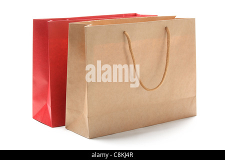 Paper bags isolated on white. - Stock Photo