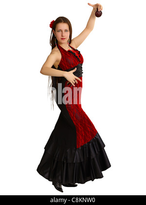 A young girl performs Spanish dance with castanets isolated on white background - Stock Photo