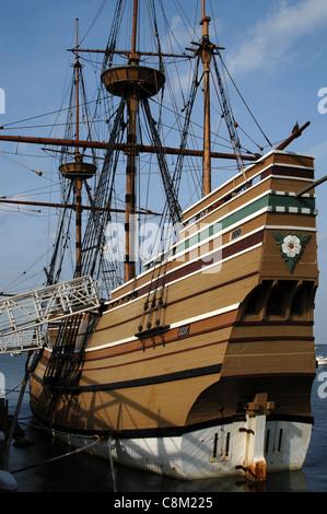 Mayflower II at State Pier. Plymouth. Massachusetts. United States. - Stock Photo