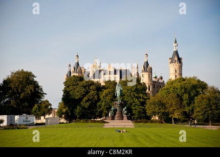 Schwerin Castle, state capital Schwerin, Mecklenburg-Western Pomerania, Germany, Europe - Stock Photo
