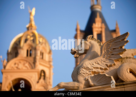 pegasus in front of Schwerin Castle, state capital Schwerin, Mecklenburg-Western Pomerania, Germany, Europe - Stock Photo