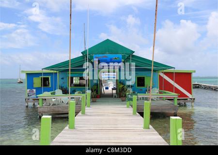 Ecologic Divers centre, Beach Road, San Pedro, Ambergris Caye (aka La Isla Bonita), Barrier Reef, Belize, Caribbean, - Stock Photo