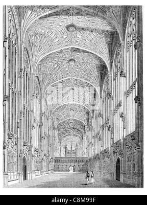 King's College Chapel University Cambridge Gothic nave chancel church fine medieval Hall Interior vaulted ceiling - Stock Photo