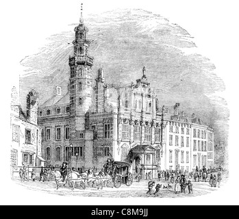 Den Haag oude stadhuis Old City Hall The Hague Renaissance style Groenmarkt Grote Kerk civic wedding Royal family - Stock Photo