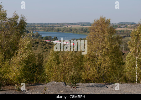 West Coast Main Line seen from Pooley Country Park, Warwickshire, UK - Stock Photo