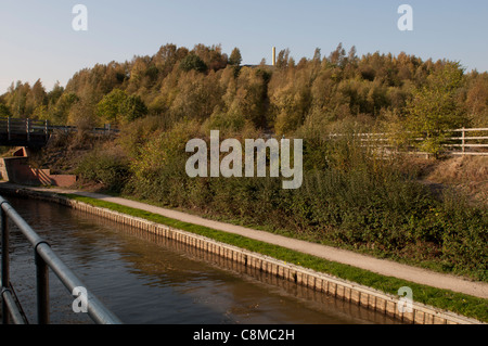 Coventry Canal and Pooley Country Park, Warwickshire, UK - Stock Photo