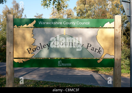 Pooley Country Park sign, Warwickshire, UK - Stock Photo