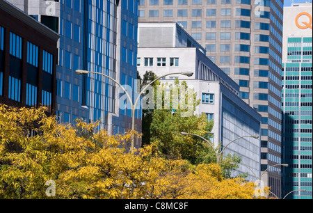 René Levesque boulevard in the autumn season downtown Montreal Canada - Stock Photo