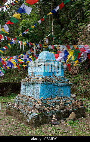 Blue chorten Khecheopalri Lake Sikkim India - Stock Photo