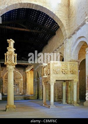 Candelabro and pergamo of the abbey San clemente a Casauria near Pescara and Chieti. - Stock Photo