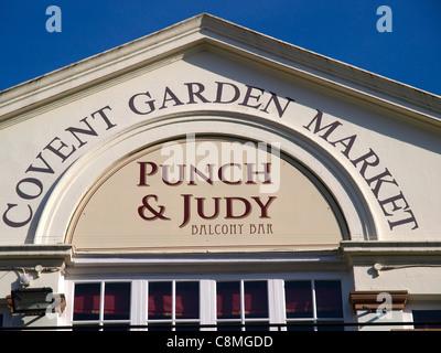 Punch and Judy Balcony Bar Covent Garden Market London - Stock Photo