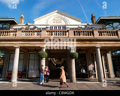 Covent Garden Market London Punch and Judy Terrace Bar - Stock Photo