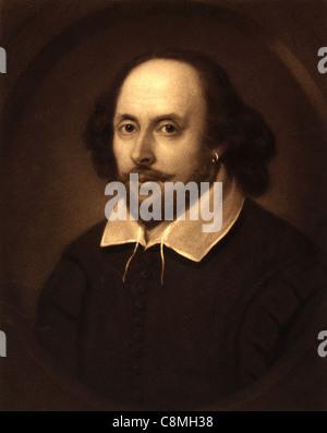 William Shakespeare, English poet and playwright. Portrait of William Shakespeare - Stock Photo