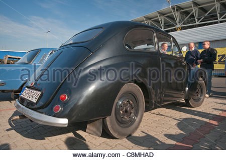 1947 Aero Minor, Czech car designed by Jawa Motors, Oldtimer Bazar fair in Wroclaw, Lower Silesia, Poland - Stock Photo
