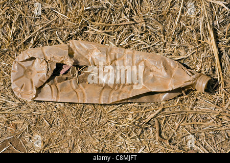 Crushed, Weathered, Plastic Bottle - Stock Photo