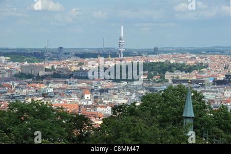 View from Rozhledna Tower Petrin Mala Strana Prague Czech Republic.  Zizkov TV Tower in the distance. - Stock Photo