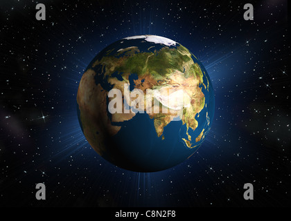 The planet earth. Eurasia.High-quality 3d rendering mother Earth with back illumination. Space with stars - Stock Photo
