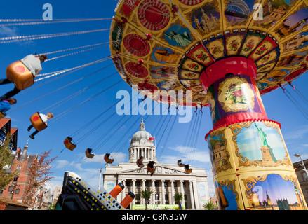 Flying Chairs Fairground Ride, Summer Funfair, Council House, Nottingham Market Square, Nottinghamshire, England, - Stock Photo