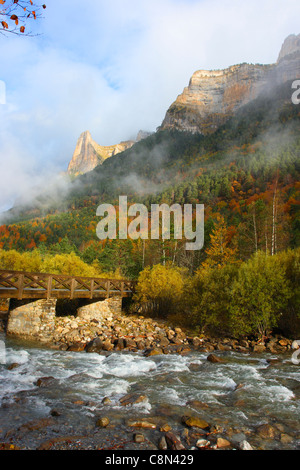 Arazas River and Ordesa Valley at the Autumn. Ordesa National Park. Huesca Province. Pyrenees. Spain - Stock Photo