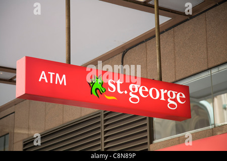 st george bank branch sign in sydney,australia - Stock Photo