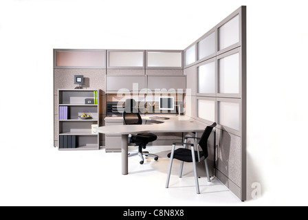 Office interior with white background - Stock Photo