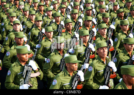 Soldiers march at military parade in Havana, Cuba commemorating the 50th anniversary of the Bay of Pigs invasion, - Stock Photo