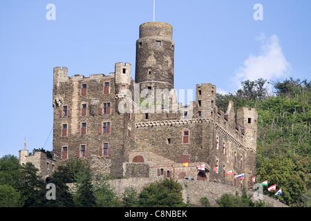 Germany, Rhineland-Palatinate, St Goarshausen, Castle Maus, high above the River Rhine - Stock Photo