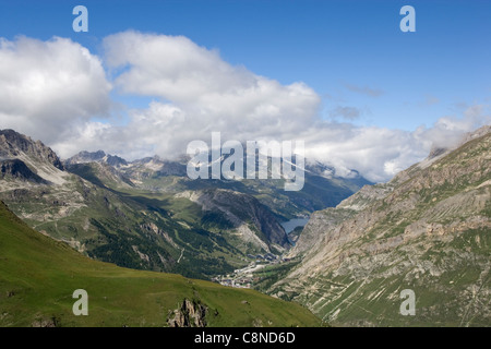 France, Savoie, view of Val d'Isere and Lac du Chevril from the Col de l'Iseran - Stock Photo