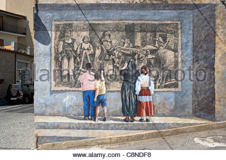 trompe l 39 oeil mural on the wall of the bar le san francisco toulon stock photo 23593945 alamy. Black Bedroom Furniture Sets. Home Design Ideas