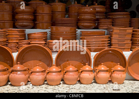 Spain, Andalucia, Alpujarras, Earthenware plates and jugs for sale - Stock Photo