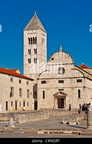 The Forum, city marketplace, located in front of Church and Monastery of St. Mary's,  Zadar, Dalmatia, Croatia, - Stock Photo