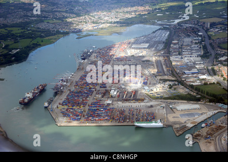 Aerial view of the Southampton international container port. - Stock Photo