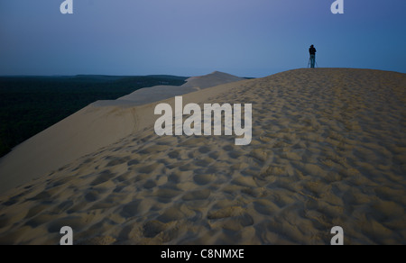 the sea front Dune du Pyla in Arcachon - Stock Photo