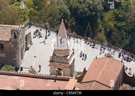 Piazza IX Aprile, Sant Agostino Church, and San Giuseppe Church bell tower, Taormina, Sicily, Italy - Stock Photo