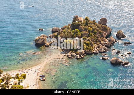 View of Isola Bella island, Baia Dell' Isola Bella, Taormina, Sicily, Italy - Stock Photo