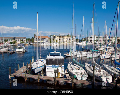 Melbourne Yacht Club Harbor in the Indian River Lagoon on the Intracoastal Waterway at Melbourne Florida USA - Stock Photo