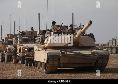 A U.S. Marine Corps M1A1 Abrams Tank with 2nd Tank Platoon, Delta Company, 1st Tank Battalion, attached to Battalion - Stock Photo