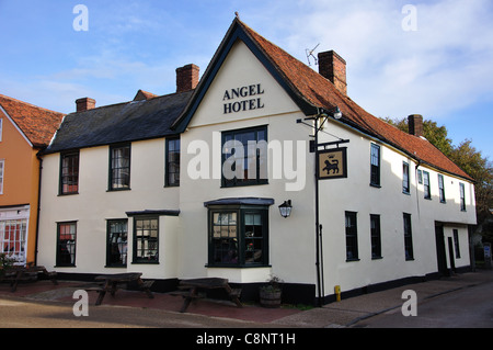 15th century The Angel Hotel, Market Square, Lavenham, Suffolk, England, United Kingdom - Stock Photo