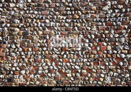 Flint wall, Barn Street, Lavenham, Suffolk, England, United Kingdom - Stock Photo