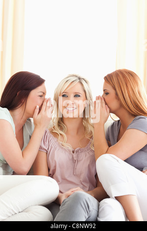 Cute woman being told two secrets at a time - Stock Photo
