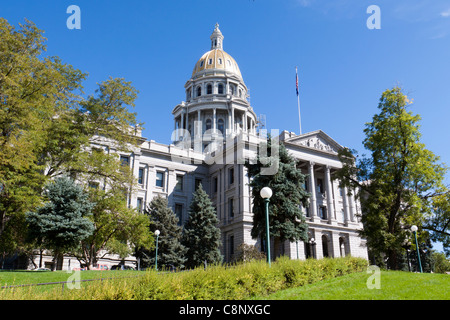 Front of the Colorado state capitol building with gold dome taken from side lawn, in Denver. - Stock Photo
