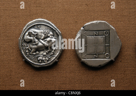 Ancient Greek coins from the numismatic collection of the Pergamon Museum in Berlin, Germany. - Stock Photo