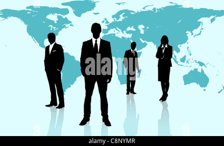 Businesspeople standing against a blue world map - Stock Photo