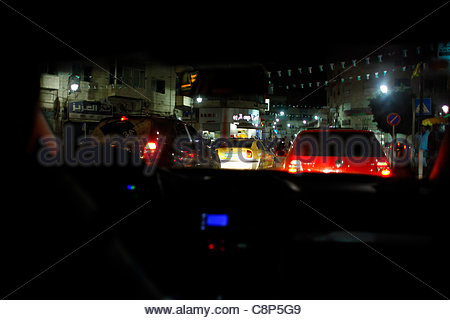 A busy street scene in downtown Ramallah West bank Palestinian Territories - Stock Photo