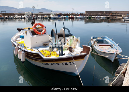 Fisher boat at the harbour of Mithymna, Lesbos , Greece - Stock Photo